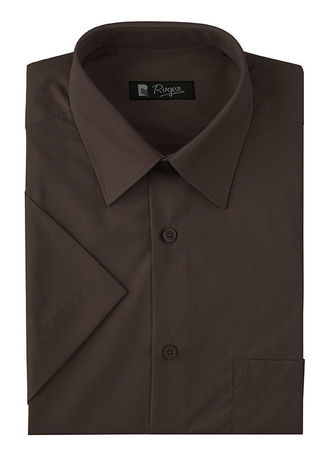 78ea76dc Camisa de hombre manga corta con bolsillo marrón chocolate ROGER 926-140-22