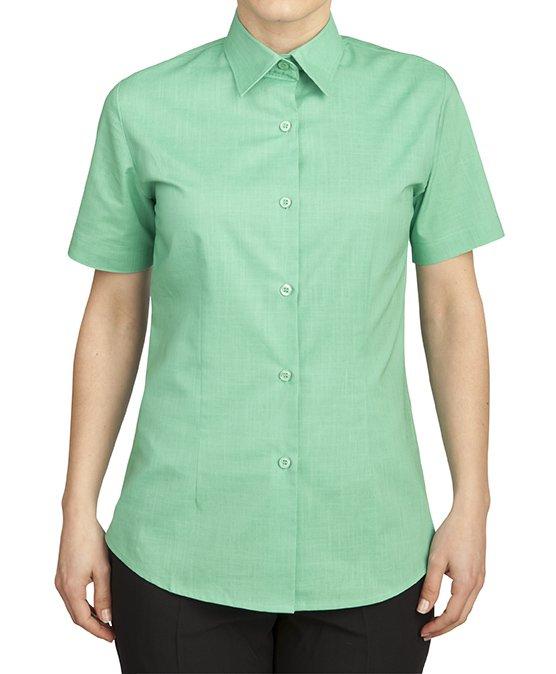 c8a295a12 Camisa de mujer manga corta aspecto lino verde esmeralda ROGER 937-144-42
