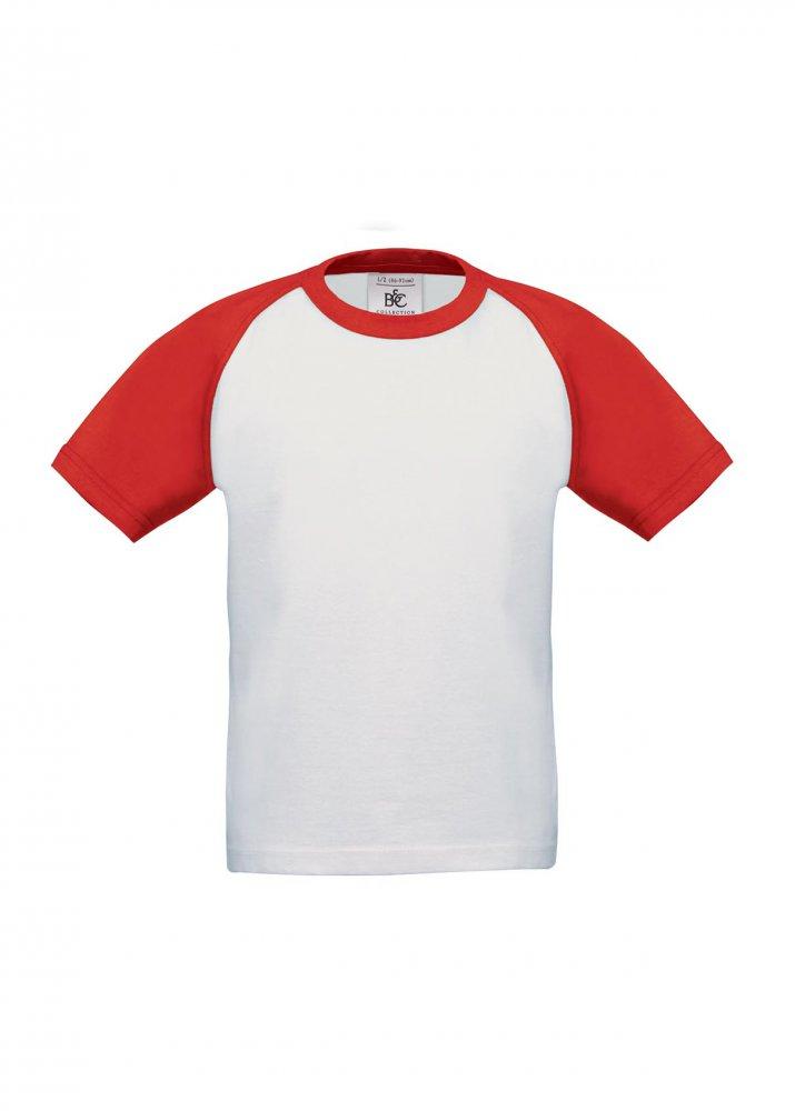 77d7caab93 Camiseta de niño manga corta baseball blanca con rojo B C BASE-BALL  KIDS